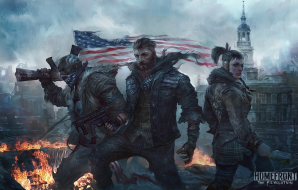 Photo wallpaper flag, weapons, art, revolution, ruins, male, trio, woman, Homefront: The Revolution