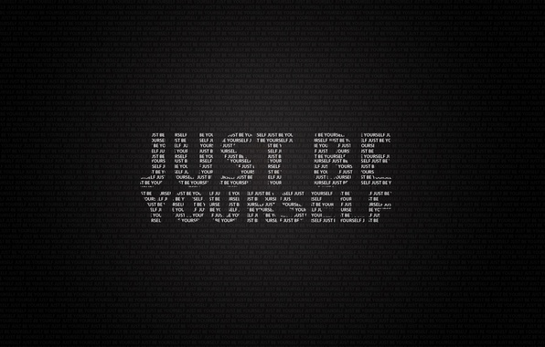 Picture letters, words, the phrase, be yourself, just be yourself