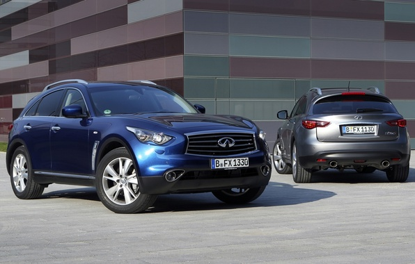 Picture blue, grey, background, jeep, Infiniti, Infiniti, rear view, the front, crossover, FX-series