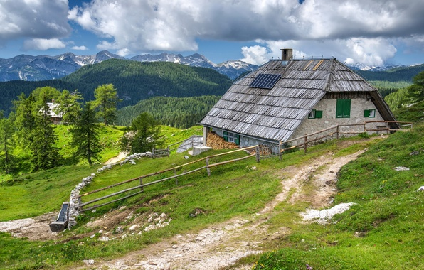 Picture greens, grass, clouds, trees, mountains, house, the fence, wood, path, forest, Slovenia, Bohinj