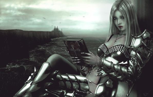 Picture look, girl, castle, fiction, armor, art, book, armor, Valkyrie, valkyrie