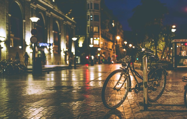 Picture night, bike, lights, shadow, the sidewalk