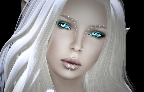 Picture girl, face, elf, piercing, white hair, render