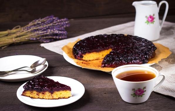 Picture tea, pie, cakes, lavender, currant