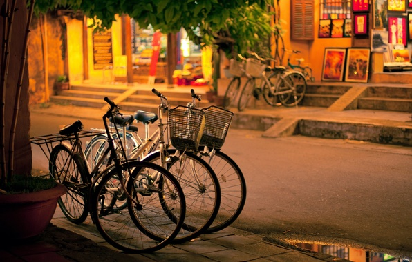 Picture road, the city, street, the evening, the sidewalk, bikes