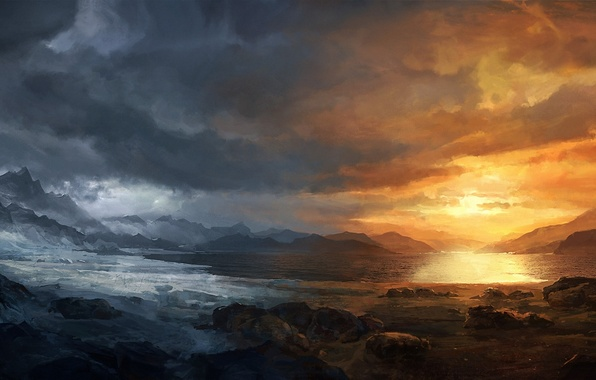 Picture cold, snow, sunset, mountains, clouds, lake, stones, art, seasons