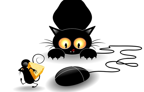 Picture cat, look, black, vector, paws, cheese, mouse, claws