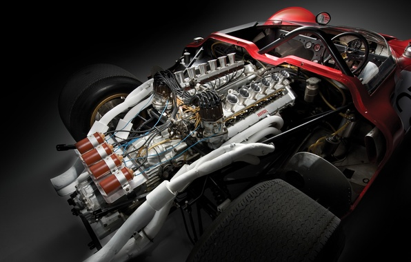 Picture Ferrari, 1967, 350, Spider, Can-Am, The V12 Engine, Mighty, Classic racing cars, Atmospheric, Engine compartment
