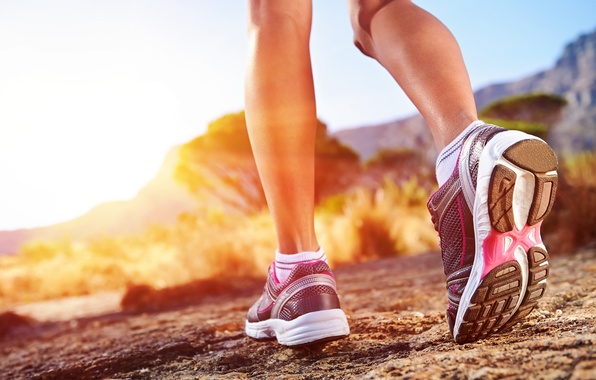 Picture woman, Runner, sports shoes, outdoor activities