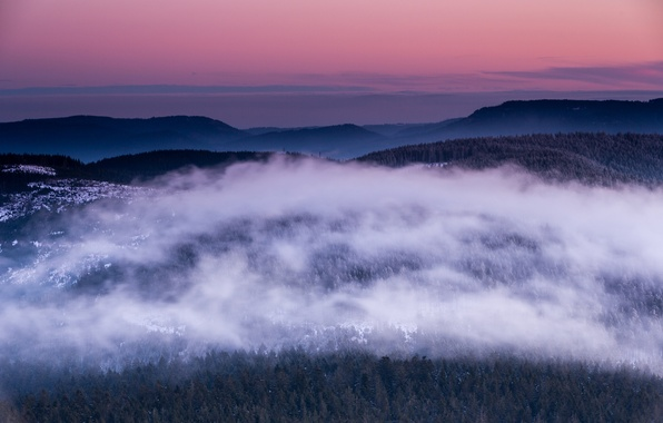Picture winter, forest, the sky, clouds, snow, trees, sunset, height, the evening, Germany, horizon, panorama, haze, …