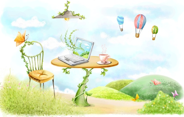 Picture butterfly, balloons, table, figure, lamp, chair, mug, laptop, vines