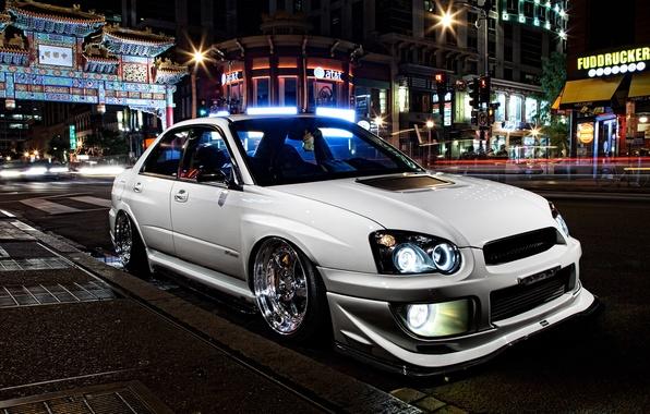 Picture car, auto, night, the city, tuning, tuning, subaru impreza, Subaru, sti, stance, slammed