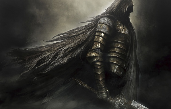 Picture darkness, sword, armor, hood, armor, knight, Namco Bandai Games, Dark Souls 2, From Software, Dark …
