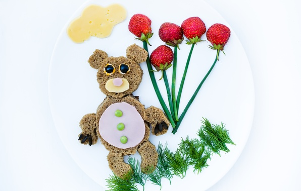 Picture creative, food, polka dot, Breakfast, cheese, bow, strawberry, dill, plate, bread, olives