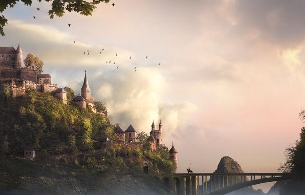 Picture trees, birds, bridge, castle, art, rider, fortress, knight