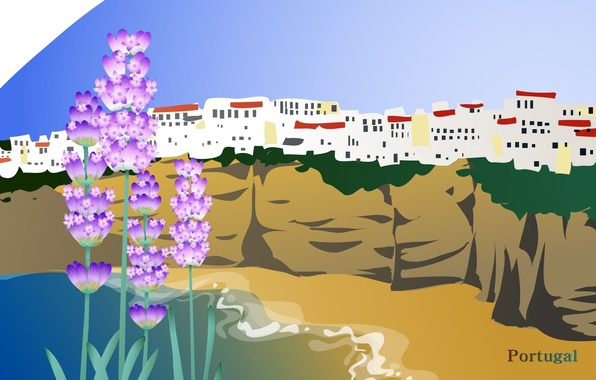 Picture sea, flowers, the city, travel, rocks, Portugal, tourism, country, Portugal, the state