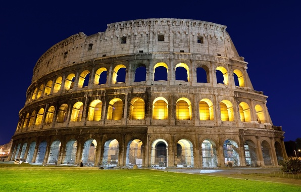 Picture grass, light, the evening, Rome, Colosseum, Italy, architecture, Italy, Colosseum, Rome, amphitheatre