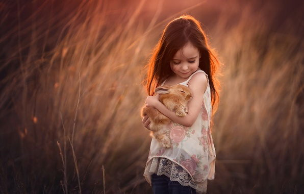 Picture nature, rabbit, girl