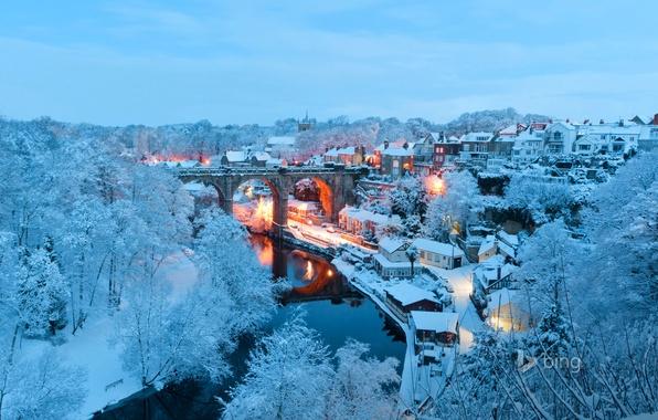 Picture winter, snow, landscape, bridge, lights, river, England, home, North Yorkshire, Knaresborough