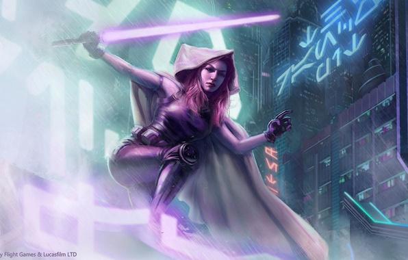 Wallpaper City Star Wars Girl Rain Red Hair Purple Mara Jade Lighsaber Dark Jedi Hand Of Emperor Images For Desktop Section Fantastika Download