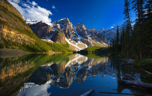 Picture trees, mountains, lake, reflection, Canada, Albert, Banff National Park, Alberta, Canada, Moraine Lake, Valley of …