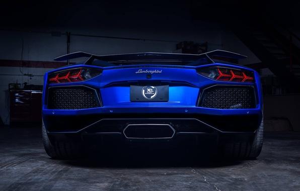 Picture Lamborghini, Blue, Matte, LP700-4, Aventador, Supercar, Spoiler, Rear, Xclusv Is Complimented