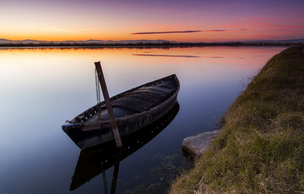 Picture sunset, river, boat