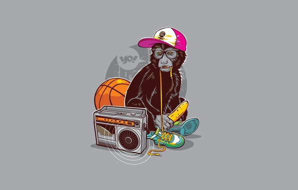 Picture humor, Minimalism, art, glasses, monkey, grey background, banana, sneakers, tape, basketball