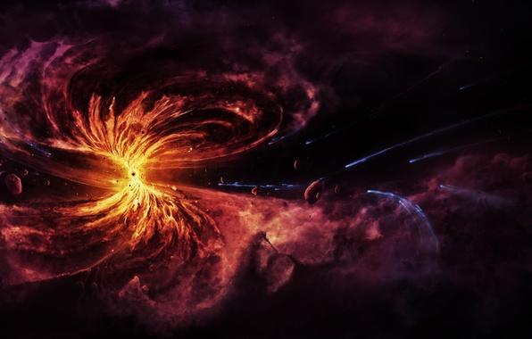 Picture nebula, gas, Black hole