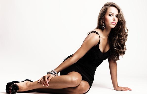 Picture look, girl, pose, model, hair, makeup, white background, black dress, bracelets
