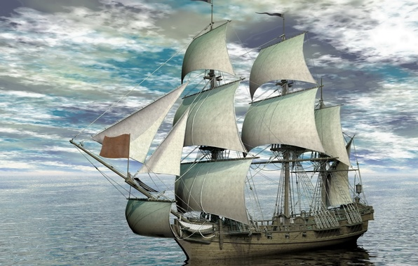Picture photo, The sky, Clouds, Sea, Ship, Sailboat, 3D Graphics