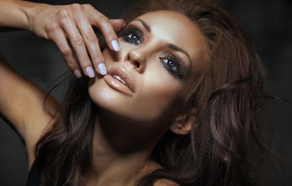 Picture sexy, model, face, hand