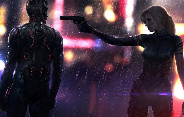 Women Warrior Artwork Sword Rain Cyberpunk Cyberpunk: Wallpaper Gun, Rain, Woman, Male, Sword, Art, Cyberpunk