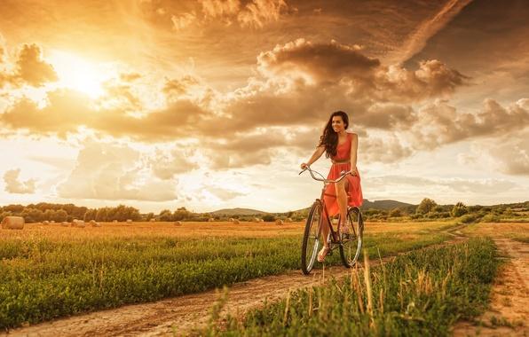 Picture road, field, the sky, girl, clouds, bike, hay, walk