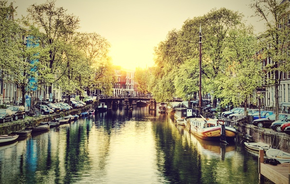Picture Water, The city, Channel, Dawn, Amsterdam, Netherlands, Amsterdam, Holland, Netherlands, Canal at Sunrise