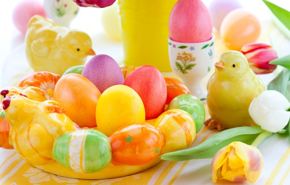 Picture holiday, chickens, eggs, spring, Easter, tulips, figures, Easter, Easter