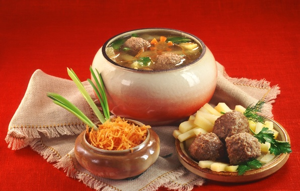 Picture carrot, bow, dill, soup, tablecloth, pot, potatoes, Russian cuisine, meatballs