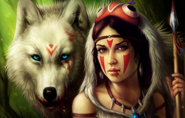 Picture girl, blood, wolf, spear, Princess Mononoke, Princess Mononoke