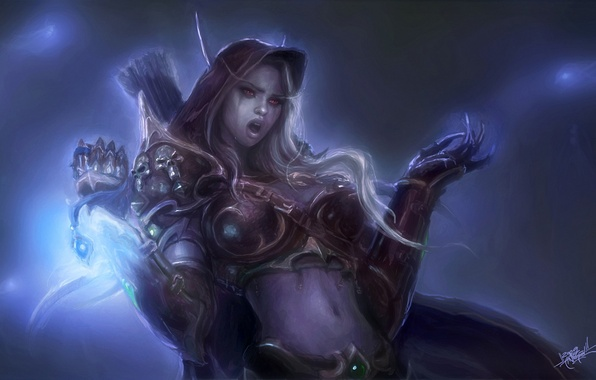 Picture magic, elf, armor, tears, WoW, World of Warcraft, arrows, Lady Sylvanas Windrunner