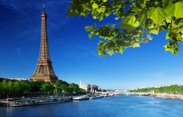 Picture summer, the sky, leaves, bridge, river, France, Paris, green, Hay, Eiffel tower, Paris, France, La …