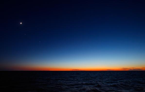 Picture sunrise, the ocean, The moon, Mars, Argentina, Atlantic, Regul