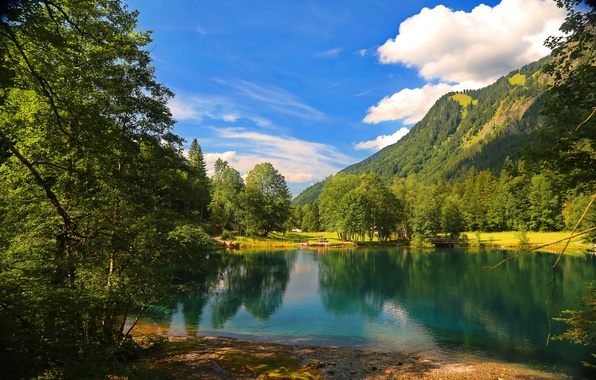 Picture forest, clouds, mountains, nature, lake, tree, forest, nature, cloud, mountains, lake, tree