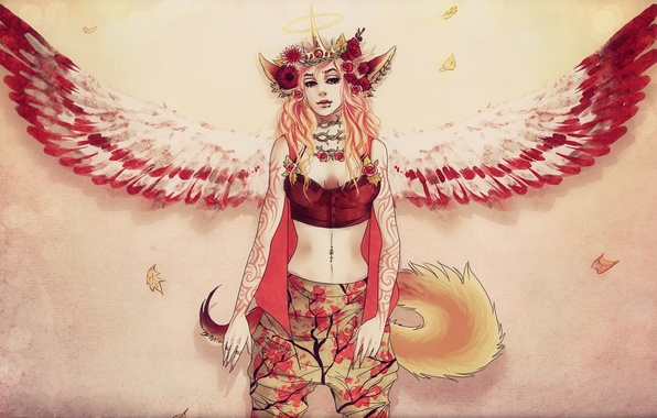 Picture flowers, Girl, wings, tail, ears, halo