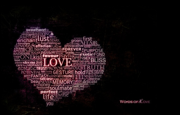 Picture love, heart, the word