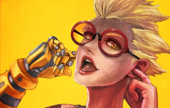 Picture girl, smile, hand, headphones, glasses, prosthesis, fan art, casual, Overwatch, Junkrat