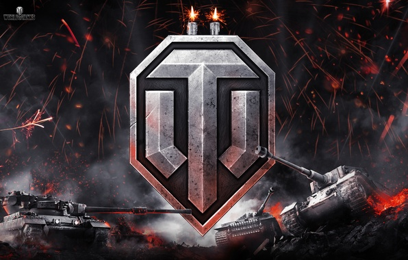 Picture night, fire, smoke, logo, candles, sparks, emblem, tanks, World of Tanks