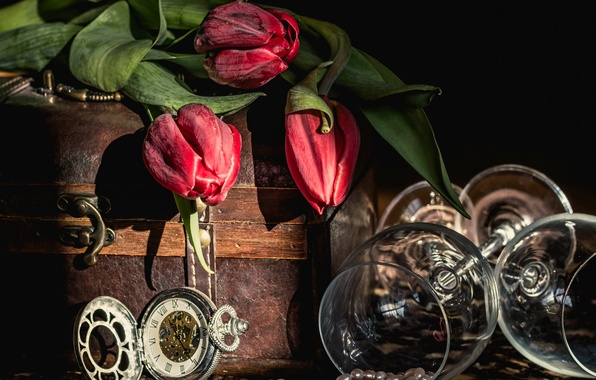 Picture flowers, style, watch, necklace, glasses, tulips, still life, chest