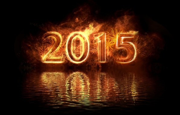 Picture water, reflection, fire, New Year, gold, New Year, Happy, 2015