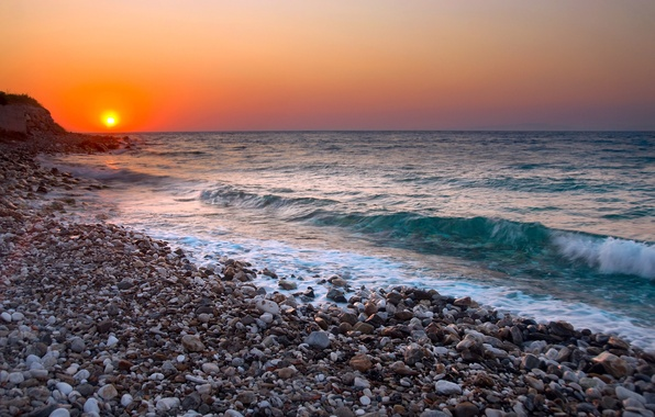 Picture beach, sunset, surf