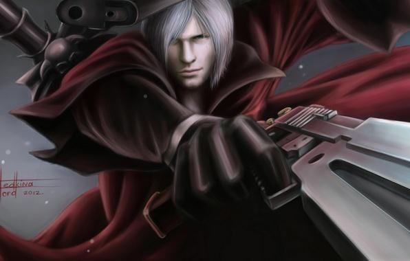 Picture guns, sword, Dante, DMC, red coat, Dante, game wallpapers, fanart, Devil may cry, fanart, Rebellion, …